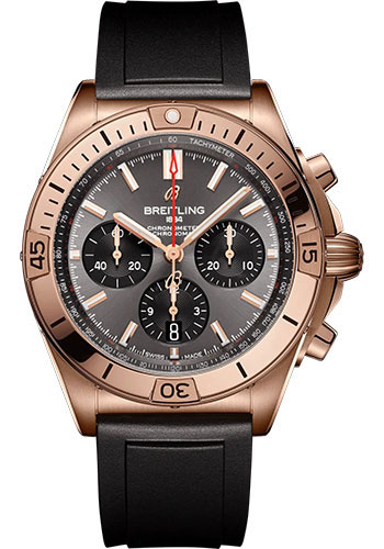 Breitling Watches - Chronomat B01 42 Red Gold - Rubber Strap - Folding Buckle - Style No: RB0134101B1S1