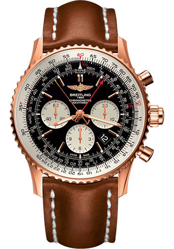 Breitling Watches - Navitimer B03 Chronograph Rattrapante 45 Red Gold - Leather Strap - Tang Buckle - Style No: RB031121/BG11/439X/R20BA.1