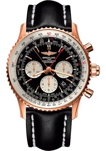 Breitling Watches - Navitimer B03 Chronograph Rattrapante 45 Red Gold - Leather Strap - Tang - Style No: RB031121/BG11/441X/R20BA.1