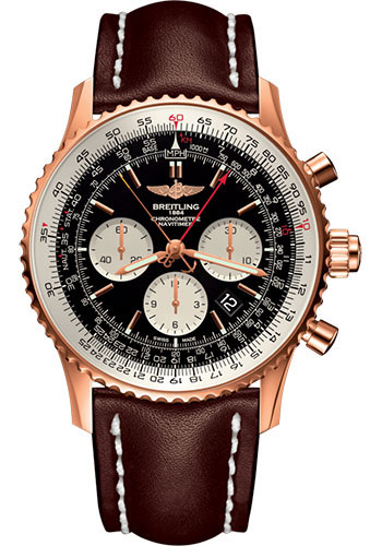 Breitling Watches - Navitimer B03 Chronograph Rattrapante 45 Red Gold - Leather Strap - Tang - Style No: RB031121/BG11/443X/R20BA.1
