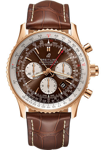 Breitling Watches - Navitimer B03 Chronograph Rattrapante 45 Red Gold - Croco Strap - Tang - Style No: RB031121/BG11/754P/R20BA.1