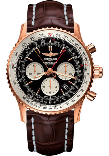 Breitling Watches - Navitimer B03 Chronograph Rattrapante 45 Red Gold - Croco Strap - Tang Buckle - Style No: RB031121/BG11/756P/R20BA.1