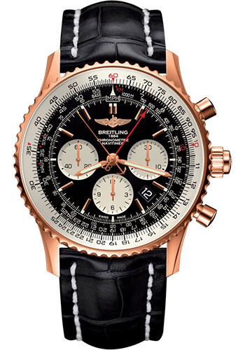 Breitling Watches - Navitimer B03 Chronograph Rattrapante 45 Red Gold - Croco Strap - Tang Buckle - Style No: RB031121/BG11/760P/R20BA.1