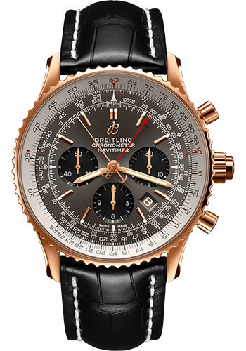 Breitling Watches - Navitimer B03 Chronograph Rattrapante 45 Red Gold - Croco Strap - Tang Buckle - Style No: RB0311E61F1P1