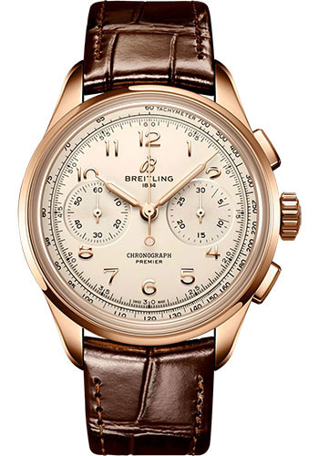 Breitling Watches - Premier B09 Chronograph 40 18K Red Gold - Alligator Leather Strap - Folding Buckle - Style No: RB0930371G1P1