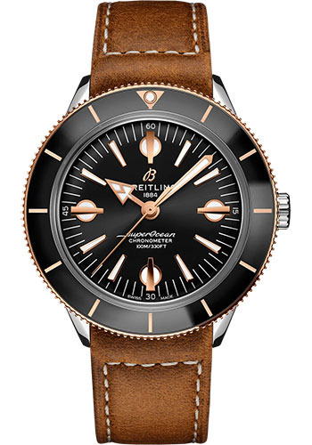 Breitling Watches - Superocean Heritage 57 Steel and Red Gold - Leather Strap - Folding Buckle - Style No: U10370121B1X2