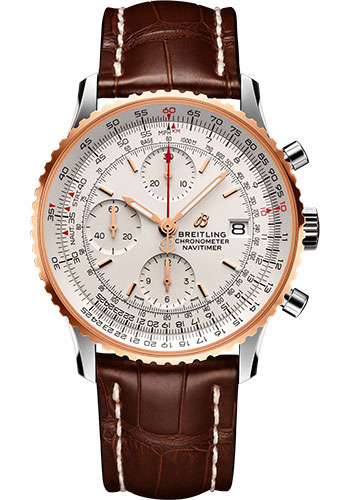 Breitling Watches - Navitimer Chronograph 41 Steel and Red Gold - Croco Strap - Tang Buckle - Style No: U13324211G1P2