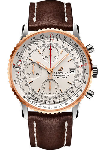 Breitling Watches - Navitimer Chronograph 41 Steel and Red Gold - Leather Strap - Folding Buckle - Style No: U13324211G1X2