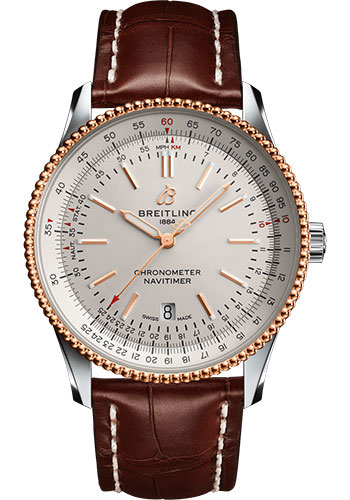 Breitling Watches - Navitimer Automatic 41mm - Steel and Red Gold - Croco Strap - Tang - Style No: U17326211G1P1