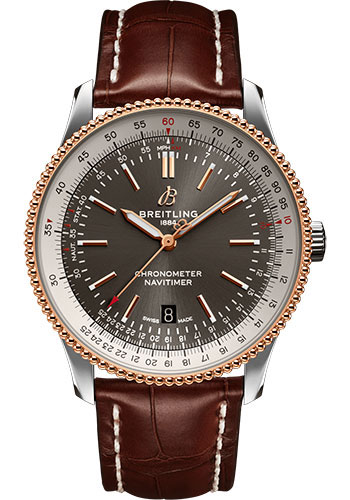 Breitling Watches - Navitimer Automatic 41mm - Steel and Red Gold - Croco Strap - Tang - Style No: U17326211M1P1