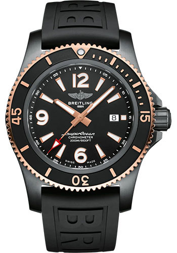Breitling Watches - Superocean Automatic 46mm - Black Steel and Red Gold - Rubber Strap - Tang - Style No: U17368221B1S1