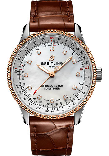 Breitling Watches - Navitimer Automatic 35mm - Steel and Rose Gold - Croco Strap - Tang - Style No: U17395211A1P1