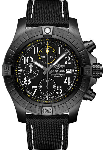 Breitling Watches - Avenger Chronograph 45 Black Titanium - Leather Strap - Folding Buckle - Style No: V13317101B1X2