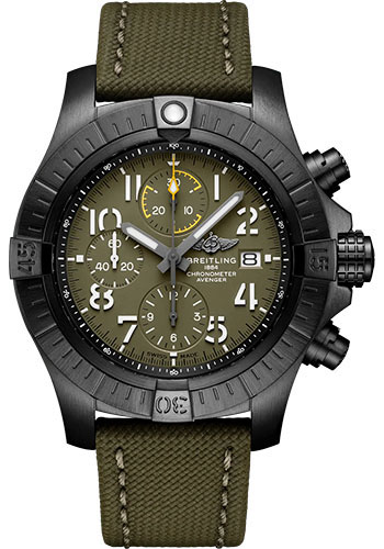 Breitling Watches - Avenger Chronograph 45 Black Titanium - Leather Strap - Tang Buckle - Style No: V13317101L1X1