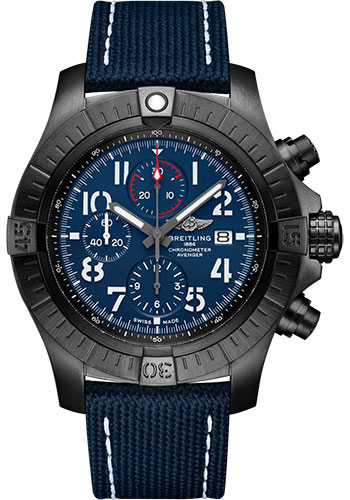 Breitling Watches - Super Avenger Chronograph 48 Black Titanium - Leather Strap - Tang Buckle - Style No: V13375101C1X1