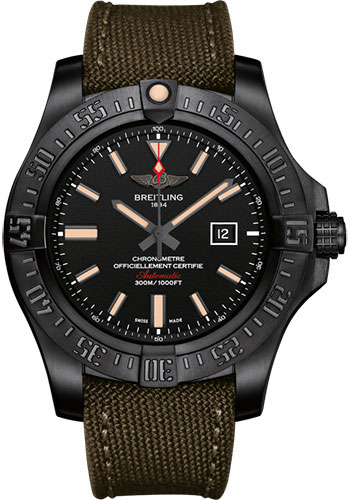 Breitling Watches - Avenger Blackbird 48mm - Military Strap - Style No: V1731010/BD12/105W/M20BASA.1