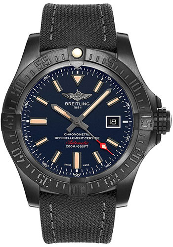 Breitling Watches - Avenger Blackbird 48mm - Military Strap - Style No: V173104A/CA23/100W