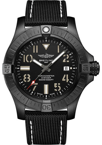 Breitling Watches - Avenger Automatic 45 Seawolf Black Titanium - Leather Strap - Folding Buckle - Style No: V17319101B1X2