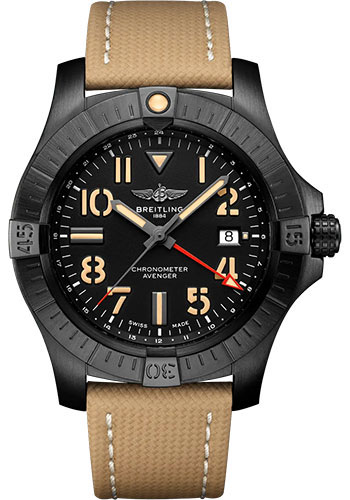 Breitling Watches - Avenger Automatic GMT 45 Black Titanium - Leather Strap - Tang Buckle - Style No: V32395101B1X1