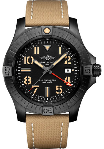 Breitling Watches - Avenger Automatic GMT 45 Black Titanium - Leather Strap - Folding Buckle - Style No: V32395101B1X2