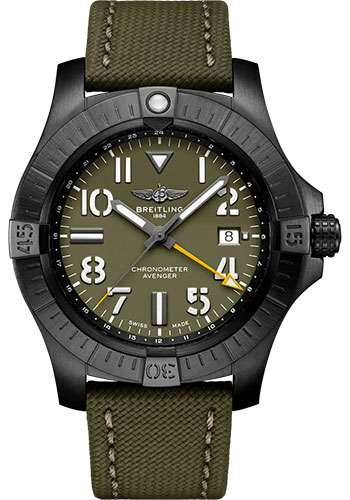 Breitling Watches - Avenger Automatic GMT 45 Black Titanium - Leather Strap - Tang Buckle - Style No: V323952A1L1X1