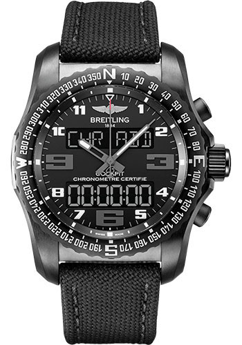 Breitling Watches - Cockpit B50 Black Titanium Case - Military Strap - Style No: VB5010221B1W1