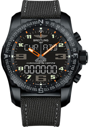 Breitling Watches - Cockpit B50 Black Titanium Case - Military Strap - Style No: VB5010A5/BD41/100W/M20BASA.1