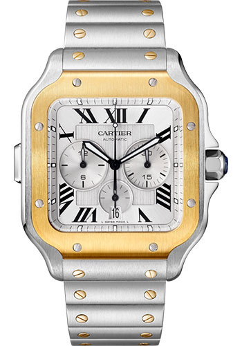 Cartier Watches - Santos de Cartier Chronograph - Steel and Gold - Style No: W2SA0008