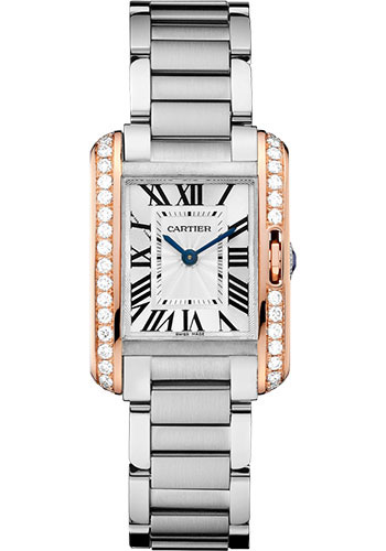 Cartier Watches - Tank Anglaise Stainless Steel and Pink Gold - Style No: W3TA0002