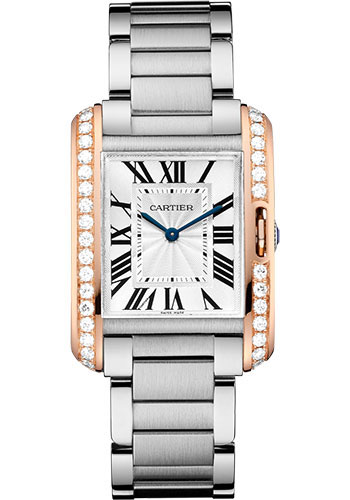 Cartier Watches - Tank Anglaise Stainless Steel and Pink Gold - Style No: W3TA0003
