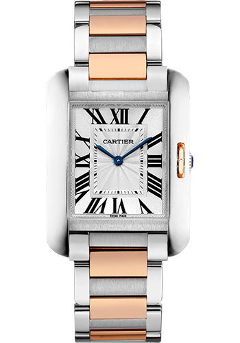 Cartier Watches - Tank Anglaise Stainless Steel and Pink Gold - Style No: W5310043