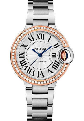 Cartier Watches - Ballon Bleu 33mm - Steel and Pink Gold - Style No: WE902080