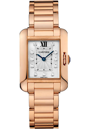 Cartier Watches - Tank Anglaise Pink Gold With Diamonds - Style No: WJTA0004