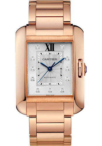Cartier Watches - Tank Anglaise Pink Gold With Diamonds - Style No: WJTA0005