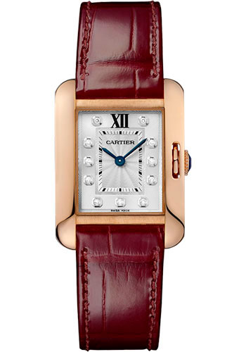Cartier Watches - Tank Anglaise Pink Gold With Diamonds - Alligator Strap - Style No: WJTA0007