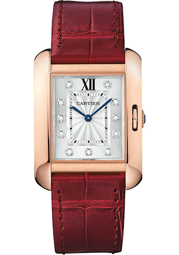 Cartier Watches - Tank Anglaise Pink Gold With Diamonds - Alligator Strap - Style No: WJTA0009