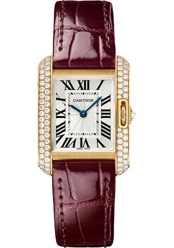 Cartier Watches - Tank Anglaise Pink Gold With Diamonds - Alligator Strap - Style No: WT100013