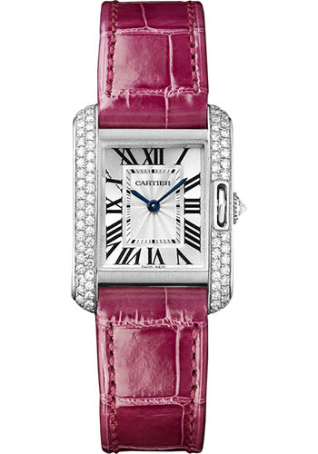 Cartier Watches - Tank Anglaise White Gold With Diamonds - Alligator Strap - Style No: WT100015