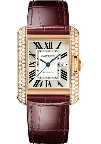 Cartier Watches - Tank Anglaise Pink Gold With Diamonds - Alligator Strap - Style No: WT100016