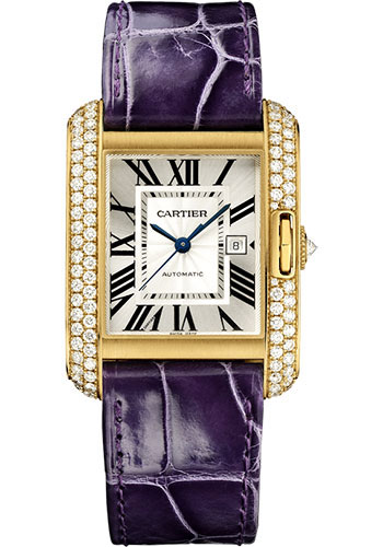 Cartier Watches - Tank Anglaise Yellow Gold With Diamonds - Alligator Strap - Style No: WT100017