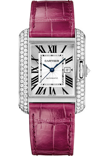 Cartier Watches - Tank Anglaise White Gold With Diamonds - Alligator Strap - Style No: WT100018