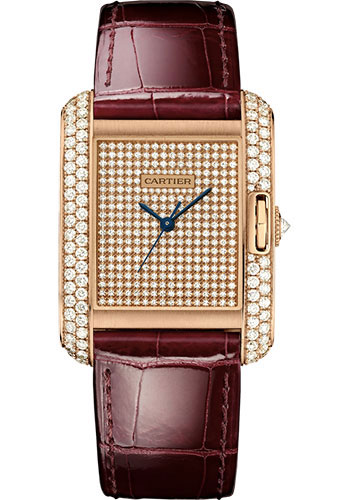 Cartier Watches - Tank Anglaise Pink Gold With Diamonds - Alligator Strap - Style No: WT100019