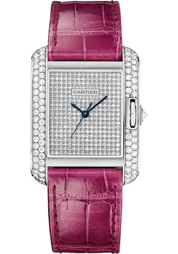 Cartier Watches - Tank Anglaise White Gold With Diamonds - Alligator Strap - Style No: WT100020
