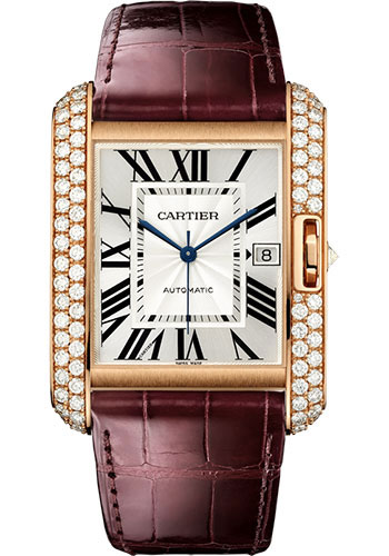 Cartier Watches - Tank Anglaise Pink Gold With Diamonds - Alligator Strap - Style No: WT100021