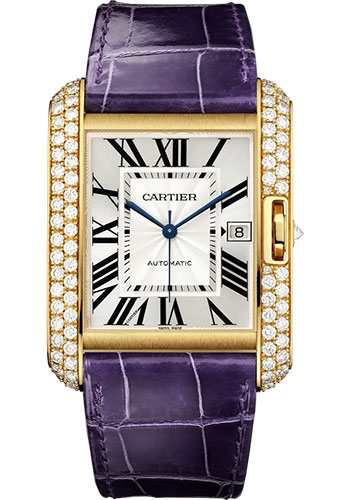 Cartier Watches - Tank Anglaise Yellow Gold With Diamonds - Alligator Strap - Style No: WT100022