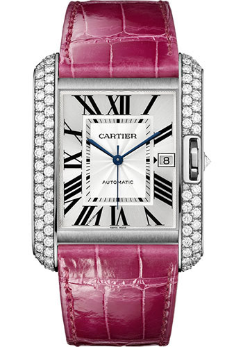 Cartier Watches - Tank Anglaise White Gold With Diamonds - Alligator Strap - Style No: WT100023
