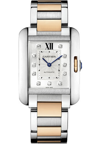 Cartier Watches - Tank Anglaise Stainless Steel and Pink Gold - Style No: WT100034