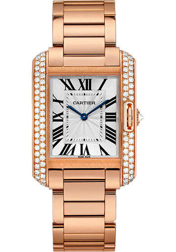 Cartier Watches - Tank Anglaise Pink Gold With Diamonds - Style No: WT100027
