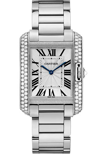 Cartier Watches - Tank Anglaise White Gold With Diamonds - Style No: WT100028
