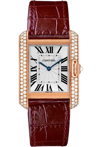 Cartier Watches - Tank Anglaise Pink Gold With Diamonds - Alligator Strap - Style No: WT100029